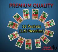 120 X SINGER DOMESTIC SEWING MACHINES NEEDLES - SIZES 14-16-18 (Genuine Needles)