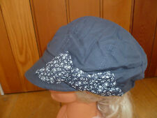 MONSOON ACCESSORIZE DARK BLUE NAVY FLOWER BOW SOFT PEAKED HAT CAP BAKER BOY NEW
