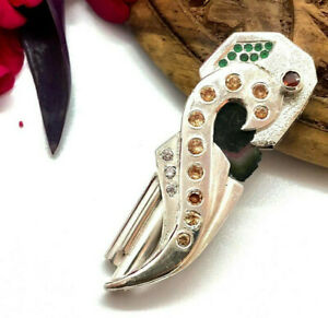 Fabricated Sterling Silver Hand Carved Pendant Natural Tourmaline Zircon