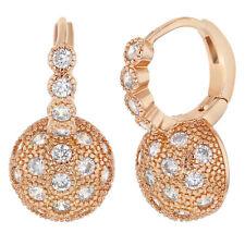 Rose Gold Tone Clear Half Ball Hoops Women's Lady Fashion Earrings