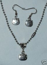 Hello Kitty  Necklace/Earrings Set Stainless Steel Chain made in the USA