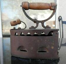 Orig. Antique Cast Iron Clothes Press Iron Coal Heated Wood Handled Grip & Latch