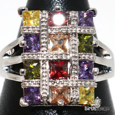 Sparkling Multi-color Topaz Statement Ring Women Jewelry 14K White Gold Plated