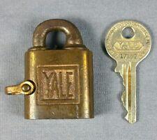 Vintage Antique YALE & TOWNE PADLOCK Lock with Push Key Stanford CT