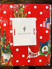 Pottery Barn The Grinch Cotton Queen Sheet Set Christmas Festive Teen Kids Red