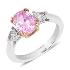 PINK WHITE CLEAR SIMULATE DIAMOND SOLITAIRE WITH ACCENTS RING 7 TCW 1.20 BEAUTY