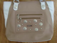 NWOT CRISTINA Pebbled Leather Handbag Pocketbook Purse Camel White Made in Italy
