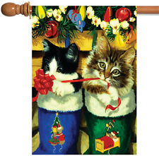 NEW Toland - Stocking Kittens - Christmas Cat Ornament Ribbon Bow House Flag