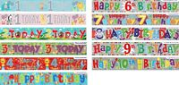 BIRTHDAY BANNERS AGES 1 2 3 4 5 6 7 8 9 10 BOY / GIRL DECORATIONS (EW)