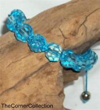 BLUE FACETED CRYSTAL & SHAMBALLA BEAD ADJUSTABLE BRACELET