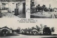 HOUGHTON LAKE, Michigan  MI   O'NIDA'S RESORT   Roadside  1940s   Postcard