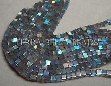"14"" strand LABRADORITE smooth gem stone cube beads 4.5mm blue green gold"