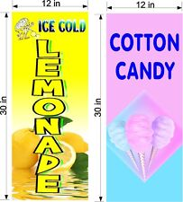 Pair Of 12 X 30 Vinyl Banners 1 Ice Cold Lemonade Amp 1 Cotton Candy