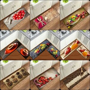 New 3D Non Slip Mat Machine Washable Kitchen Rug Entrance hall back Fruit mats