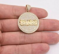 """1.5"""" Last Supper Apostle Jesus CZ Pendant Real Solid 10K ALL Yellow Gold"""