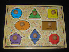 Melissa & Doug Shape Puzzle Wooden Waldorf Montessori Developmental BaBy Toy