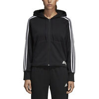 Adidas Athletics Women's Must Haves 3-Stripes Black Hooded Jacket DW9695 NEW