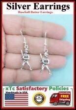Baseball Batter Silver Earrings. Player Gift. Team Gift.