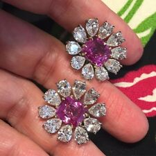 7Ct Cushion Pink Sapphire Smlnt Diamond Halo Stud Earrings White Gold Fns Silver
