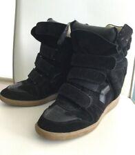 Womens Isabel Marant Burt Black Wedge Heel Sneakers Leather Suede Hi Top 39 9