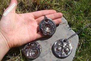 Cool Medium AMMONITE Fossil Pendant Necklace Ceramic Pottery Handmade GIFT W4