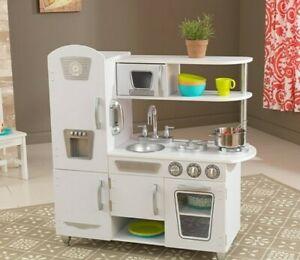 Kidkraft Modern White Vintage Kitchen with Accessory Set   Wooden Toy Kitchen