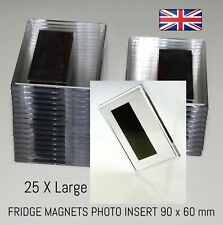 More details for photo fridge magnets pack of 25 x large high quality clear acrylic blank magnets