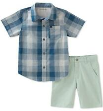 Calvin Klein Big Boys Blue Plaid Woven Shirt 2pc Short Set Size 8 10 12 $60