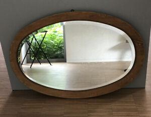 alter ovaler Spiegel mit Facettenschliff  im Holzrahmen