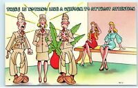 WWII Military Army Vintage Comic Postcard Female Woman in Uniform Attention C99
