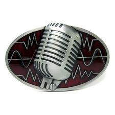 Classic  Microphone Micro Singer Music Sound Belt Buckle Red Radio Rock Hip Hop