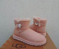 UGG RARE PINK DUSK MINI BAILEY BLING SUEDE/ SHEEPSKIN BOOTS, US 7/ EUR 38 ~NEW