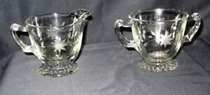 Vintage Creamer suger dish / bowl floral   etched glass Sugar Dish
