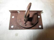 VINTAGE ANTIQUE DESK DRAWER / CABINET LOCK, Rectangular Steel Latch Type