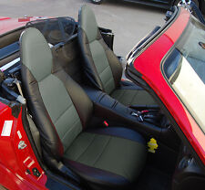 MAZDA MIATA 2001-2005 BLACK/CHARCOAL S.LEATHER CUSTOM MADE FIT FRONT SEAT COVER