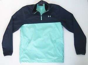 UNDER ARMOUR Unisex 1/4 Zip Windbreaker Storm Jacket Size M Aqua Blue EC