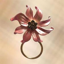 NEW Pearlised Pale Pink & Crystal Flower Glasses Hanger Brooch Pin Holder
