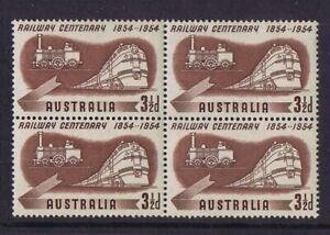 #055b) Australian Pre-Decimal Stamps 1954 3 ½d Railways Centenary, MNH Block 4