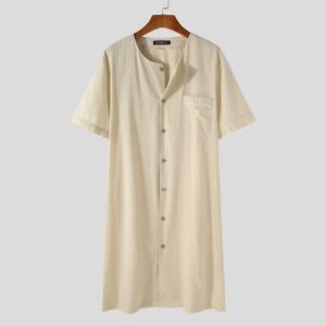 Mens Short Sleeve Nightshirt Bathrobe Sleepwear Button Down Kaftan Long Robes US