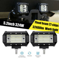 1x 5.2inch 324W Flood beam led work light OffRoad Fog Driving Combo Truck  4WD