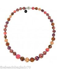 NEW JILZARAH Graduated Clay Beads SUNSET Brown Orange Long Necklace Magnetic