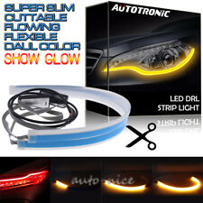 """2x 24"""" Red Amber LED DRL Daytime Running Strip Light Sequential Turn Signal Lamp"""