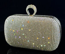 Sparkling Clutch Silver Evening Bag made w/ Swarovski Crystal Ring Clasp Bridal