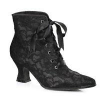 Ellie 155-ELIZABETH Black Victorian Western Witch Children's Costume Ankle Boot