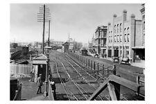 nsw NEWCASTLE Scott St Railway Station Tram c1900 modern Digital Photo Postcard