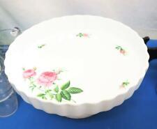 Vtg Christineholm Scalloped Edge Cake Pie Plate Rose Pattern on Pedestal 9.5