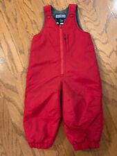 LANDSEND Snow Bib Pants Size 18 M - Red  - Fleece Lined - EUC!