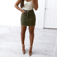 WAKEE KHAKI MINI DENIM SKIRT WITH FRAYED HEM. SIZE 6-16