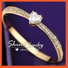 9K GOLD GF BA10 SIMULATED HEART Diamond ENGAGEMENT WEDDING BRACELET BANGLE
