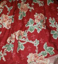 Euc Ralph Lauren Chaps Muted Red Elena Flowers Bed Skirt Ruffle Full